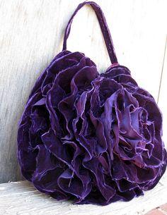 Purple Deconstructed Velvet Ruffle Rosette Hobo Bag by Stacy Leigh on Etsy