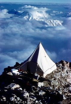 Balcony Camp on the first ascent of Mt. McKinley's West Rib, perched at around 16,800 feet – 3,500 feet below the summit (1959).