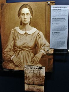 Oil painting of Nancy Hanks Lincoln President Abraham Lincoln's mother. Nancy Lincoln died of milk sickness at the Little Pigeon Creek settlement in Spencer County, IN when Abraham was nine years old. Abraham Lincoln, Mary Todd Lincoln, Lincoln President, American Presidents, Us Presidents, American Civil War, American History, Us History, Women In History
