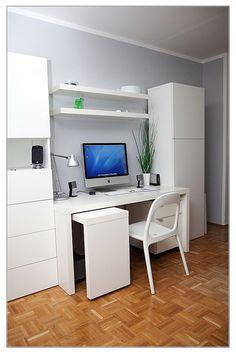 Modern Workspace  :: iMac - White, Clean and Organized, ikea urban chair Home Office Organization, Home Office Decor, Home Decor, Ikea Units, Built In Furniture, White Furniture, Office Furniture, Interior Architecture, Interior Design