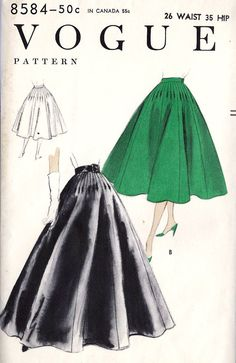 1950s Misses Long Evening Skirt Formal Skirt, Day skirt