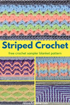 Striped crochet afghans are fun, but this one goes beyond! This modern striped crochet blanket features stripes of not just various colors, but each stripe is a different stitch! Horizontal stripes may be all you see now, but as this CAL (crochet along) continues, you'll see a few more directions happening. This crochet blanket is also a crochet stitch sampler and a great way to learn to crochet many stitch patterns. You're going to enjoy creating and using or giving this crochet masterpiece. Crochet Stitches Patterns, Stitch Patterns, Knitting Patterns, Crochet Afghans, Unique Crochet, Free Crochet, Knitting Projects, Crochet Projects, Striped Crochet Blanket