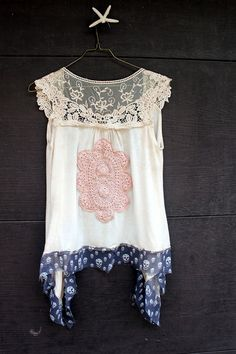 REVIVAL Upcycled Boho Knit Vest Lace SkullSmall to by REVIVAL