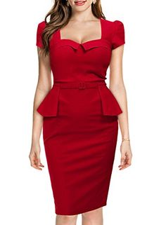 Miusol Women's Vintage Square Neck Peplum Slimming Busine...…