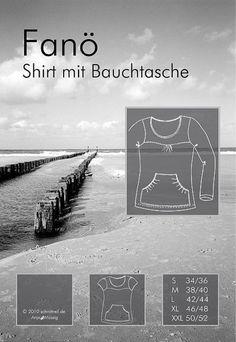 Mehrgrößenschnittmuster, Größen: S (34/36), M (38/40), L (42/44), XL (46/48), XXL (50/52)  Alle Größen sind auf dem Schnittmusterbogen abgebildet.    FANÖ ist ein Shirt mit gebogener Passe. Die...