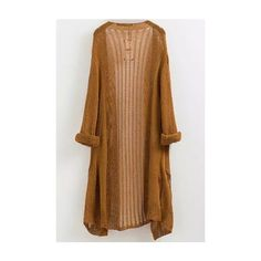 LUCLUC Yellow Hollow-out Long Cardigans Cardigan (€21) ❤ liked on Polyvore featuring tops, cardigans, long cardigan, long yellow cardigan, yellow cardigan, long brown cardigan and brown cardigan