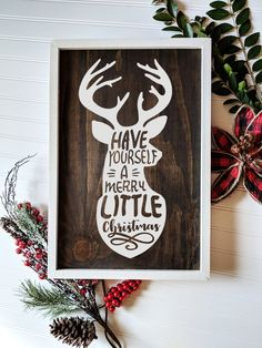 Reindeer Christmas Decor Sign for Farmhouse Christmas Inspired Homes Christmas in JULY! Cmon, who d Christmas Signs Wood, Holiday Signs, Christmas Crafts, Christmas Decorations, Reindeer Christmas, Christmas Ideas, Reindeer Decorations, Christmas Quotes, Christmas Pictures