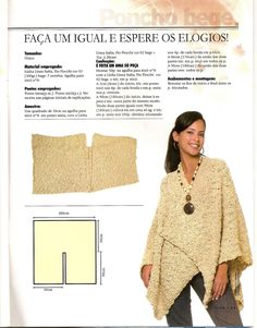 poncho - definitely a style safety hazard. what worries me most is people pinning this horror to their fashionable idea& board Knitted Poncho, Knitted Shawls, Crochet Shawl, Knit Crochet, Weaving Patterns, Knitting Patterns Free, Crochet Patterns, Sewing Clothes, Crochet Clothes