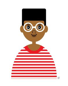 Items similar to Boy Art Print, (Brown Skin African American Boy with Glasses and Hi Top Fade, Nerd Art) on Etsy Nerd Art, Boy Art, Brown Skin, Paper Dolls, Little Boys, Nook, Basement, African, Art Prints