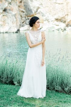 A beautifully beaded lace cap sleeved wedding gown perfect for a lakeside Grecian elopement— or any low-key glam bride! Wedding Gowns With Sleeves, Wedding Dresses, Grecian Wedding, Lakeside Wedding, Greece Wedding, Gorgeous Wedding Dress, Wedding Photo Inspiration, Groom Attire, Bridal Photography