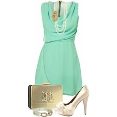 """Vintage Mint and Gold"" by kajones722 on Polyvore"