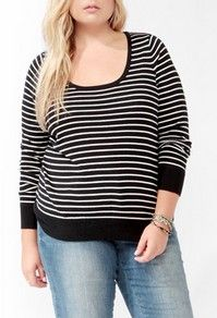 Women's Plus Size Clothing at Forever 21+ - Classic Striped Sweater $14.80