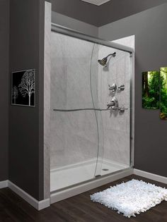 "Miseno MSDS6072 Suave 72"" High x 60"" Wide Frameless Shower Door with Clear Glass Brushed Nickel Showers Shower Doors Sliding"