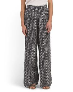 Juniors Printed Wide Leg Pant