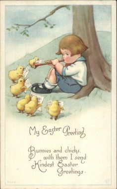 Easter - Boy Plays Music For Chicks - Unsigned Twelvetrees? Postcard c1915 | eBay