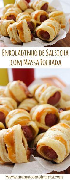 Enroladinho de Salsicha com Massa Folhada, para petiscar com os seus amigos. #receita #comida #petisco #lanche #salsicha #gordice