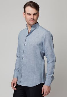 Long Sleeve Blue Linen Shirt - Mksp - Buy Men's Shirts Online in ...