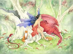 Fantasy Art Print - Ruby's Dragon - fairy. enchanted forest. fairy tale. whimsical. trees. foxes. wild. watercolor art.