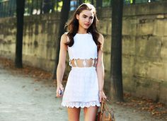 #DIY #Cut rectangles out of a mini white dress