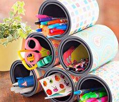 Manualidades para organizar la zona de estudio: latas recicladas