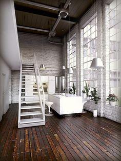 White double volume loft and kitchen interiorhttp://www.bloglovin.com/viewer?post=2987504775&group=0&frame_type=b&blog=2989435&frame=1&click=0&user=0