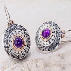 Amethyst Earrings Gemstone Gold and silver by GefenJewelry on Etsy, $285.00