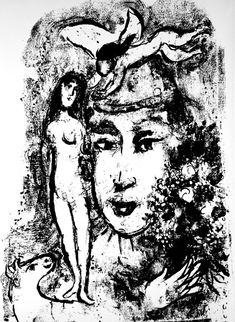Marc Chagall- le Miroir, no. pg Original lithograph from Derriere le Miroir, page Published by Maeght, Paris. Marc Chagall, Chagall Prints, Aurora, Le Clown, Jewish Art, Fine Art Auctions, Sculpture, Heart Art, French Artists