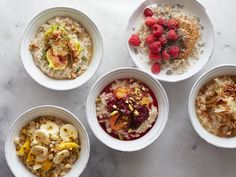 Oatmeal Toppings : Fruits, nuts and spices turn your oatmeal bowl into a delicious breakfast or dessert.