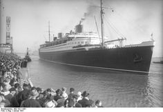 SS Bremen  launched 1929. Check out those low streamlined stacks!