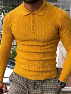 Casual wear for men - Carlos SlimFit Polo Sweater Mustard – Casual wear for men Mens Fashion Suits, Men's Fashion, Polo Sweater, Men Sweater, Best Shorts For Men, Best Polo Shirts, Slim Fit Polo, Gentlemen Wear, Denim Jacket Men