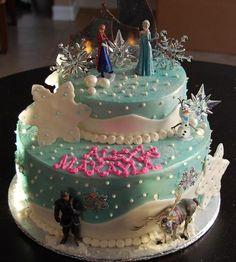 frozen theme birthday cake   Disney's Frozen Themed Happy Birthday Cake