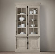 French Casement Sideboard & Hutch from Restoration Hardware. Couple of finshes as options. Do have a new Distressed Taupe- no samples out yet.