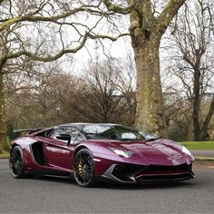 Lamborghini Aventador Super Veloce Roadster painted in Viola Ophelia Photo taken by: @purepowerphotography on Instagram (@the_luxurious_cars on Instagram, his father is the owner of the car)