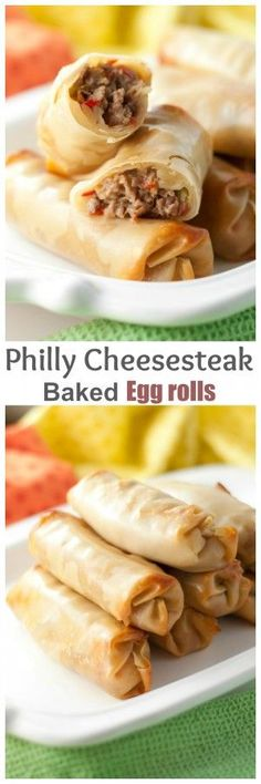 Philly Cheesesteak Baked Egg Rolls recipe with gooey, melted cheese and juicy beef makes for a tasty dinner or party appetizer ready in no time at all! They are baked, not fried! #beeffoodrecipes