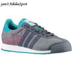 Adidas Originals Samoa Herre Canvas Sneakers Bly/Grå/Turkis/Blast Pink HOT SALE! HOT PRICE!