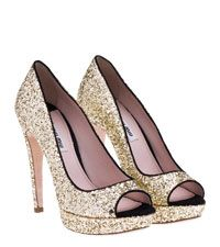 Miu Miu gold and black pumps (I would love to have a reason to buy and wear these...but I don't.  Truly gorgeous)