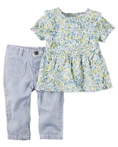 Baby Girl 2-Piece Floral Top & Hickory Stripe Denim Pant Set from Carters.com. Shop clothing & accessories from a trusted name in kids, toddlers, and baby clothes.