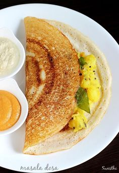 Masala dosa recipe made in restaurant style. Learn how to make south India's most popular breakfast masala dosa with step by step photos Paneer Recipes, Veg Recipes, Vegetarian Recipes, Cooking Recipes, Snacks Recipes, Easy Recipes, Masala Dosa Recipe, Indian Dosa Recipe, Recipe Of Dosa