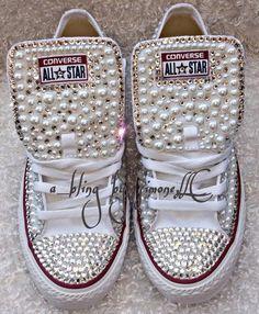 Custom Pearl Embellished Adult Converse | Etsy
