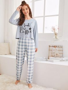 Shop Letter & Gingham Print PJ Set at ROMWE, discover more fashion styles online. Cute Pajama Sets, Cute Pajamas, Girls Pajamas, Comfy Pajamas, Loungewear Outfits, Pajama Outfits, Pijamas Women, Cute Sleepwear, Night Dress For Women