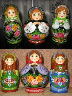 Colourful babushka dolls