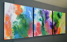 Original Abstract Paintings, Triptych, three canvases 20x60 inches ... Skyward ... by Sally Trace via Etsy