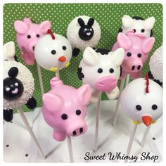12 Farm Animal Cake Pops Cow Pig Chicken Sheep by SweetWhimsyShop