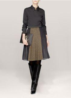 Givenchy - Silk-chiffon-panel wool tweed skirt | Neutral and Brown Knee-length Skirts | Womenswear | Lane Crawford - Shop Designer Brands Online