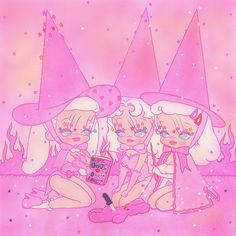 """""""On Wednesday, we wear pink. 💅🏻 Once upon a time,three pink witches from the North Shore High invented BURN BOOK. Dark Art Illustrations, Illustration Art, Anime Manga, Anime Art, Grunge Art, Scary Art, Creepy Cute, Dope Art, Kawaii Art"""