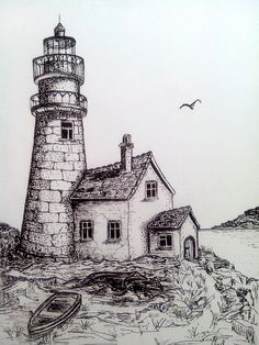 Boats near Lighthouse – Art Sketches Landscape Pencil Drawings, Pencil Art Drawings, Art Drawings Sketches, Easy Drawings, Landscape Sketch, Lighthouse Drawing, Pen Art, Painting & Drawing, Scenery