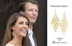 Princess Marie of Denmark wearing the large Izabel Camille Casino earrings. #izabelcamille #royalty #style #earrings #scandinavianstatements #danishroyalty #danishstyle