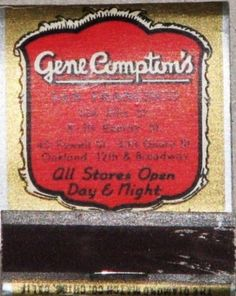 Matchbook from Compton's Cafeteria - The Compton's Cafeteria Riot occurred in August 1966 in the Tenderloin district of San Francisco