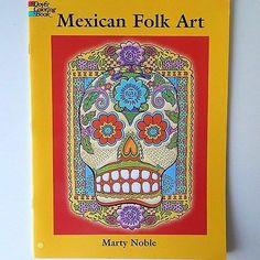 Mexican Folk Art Ornate Skull w Flower Eyes Mermaids Dover Coloring Book M Noble | eBay