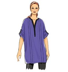 Butterick tops and tunics sewing pattern: Very loose-fitting, pullover top and tunic have neck and front bands, front tucks, right front fly, back pleat underlay and stitched hems. B6147, sizes 8-24W.